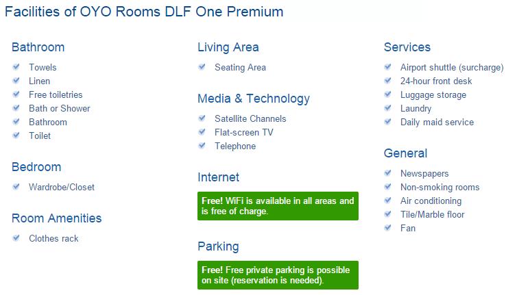 Oyo Room Facilities List