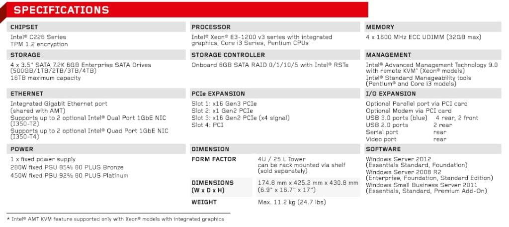 Lenovo ThinkServer TS140 Specifications