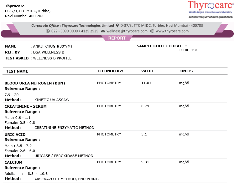 Thryocare Test Report Sample