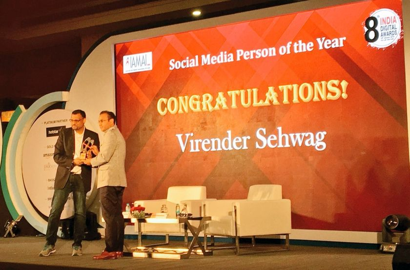 Virender Sehwag- Social Media Person of the Year at the 8th India Digital Awards presented by IAMAI