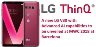 LG V30 2018 with AI to be unveiled at MWC 2018 at Barcelona